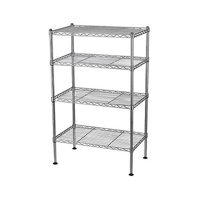 4 Tier Wire Shelving Rack Adjustable Shelves Steel Kitchen Storage Shelf Unit