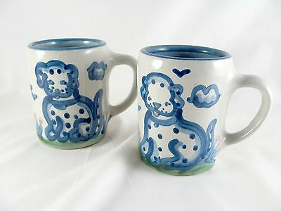 "2 M A Hadley Country Scene Blue Dog Mugs, 3-7/8"", The End"
