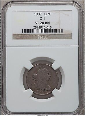COIN: 1807 NGC VF 20 BN C-1 Half Cent 1/2C Draped Bust Half Cent  FREE SHIPPING