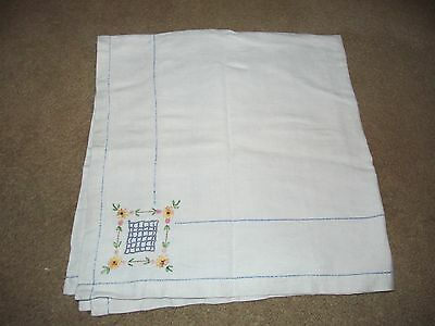 "Vintage 33x33"" Embroidered Floral Tablecloth"