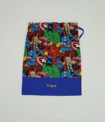 New $Free Name Superhero Ironman Capt America Personalised Boy Library Bag Fd