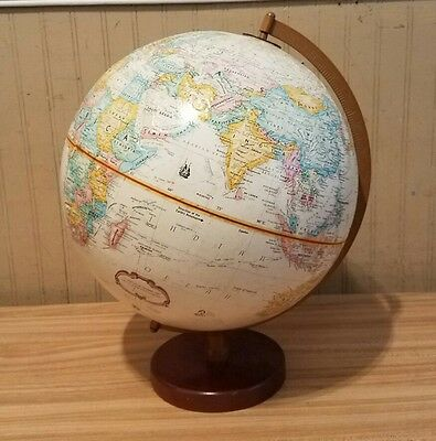 Vintage Replogle Globemaster 12 inch World Globe with Metal Arm & Wood Base