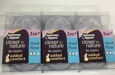 Tommee Tippee Nipples,NEW~MEDIUM Flow,6-Count~2 nipples per pack-Sealed~MED FLOW