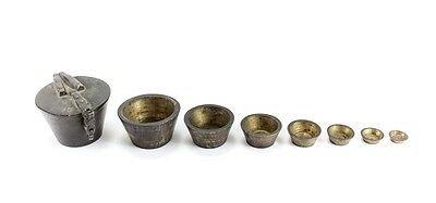 Patinated brass Nested Cup Weights Apothecary or coin Marked MARC