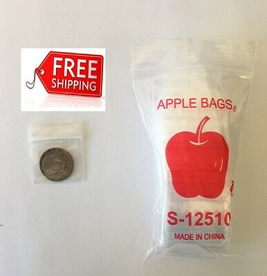 "Top Quality Bags 15175 1000 Clear Apple Brand Zip Lock Baggies 1.5/""X1.75/"""