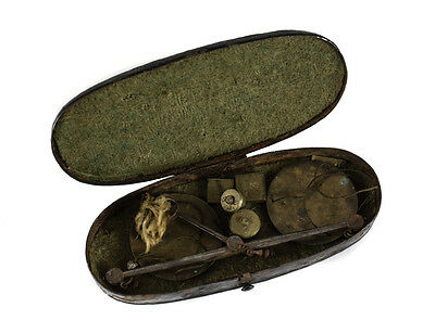 Antique Pocket Cased Balance Pan Coin Scales with Weights enameled steel case