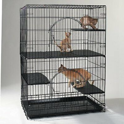 Cat Cage Plastic Black Deluxe Platforms Large Safe Exercise Comfortable Place