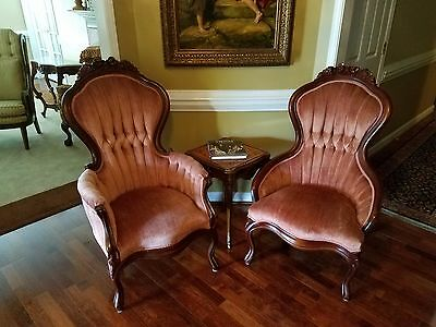 Red Coral Pink His and Hers Victorian Chairs in very good condition, Must See!