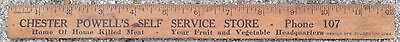 Vintage Advertising Ruler, Chester Powell's Self Service Store, 3 Digit Phone #