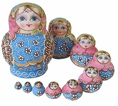 Set of 10 Nesting Dolls Popular Handmade Blue Garland Russian Matryoshka Russ...