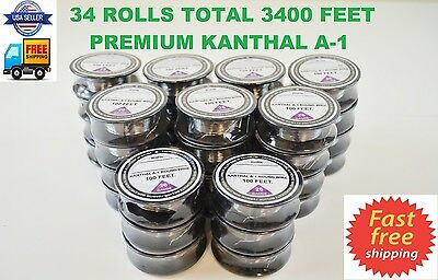 34 ROLLS 3400' ft - 26 Gauge AWG A1 Kanthal Round Wire 0.40mm Resistance A-1