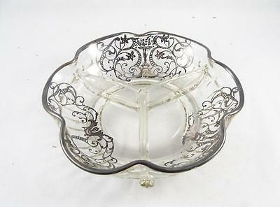 Antique/vintage Silver Overlay Glass Divided Relish Dish