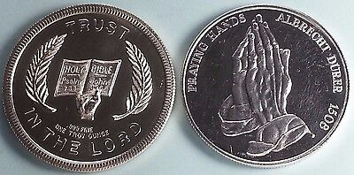 Religious Silver Rounds 1 oz. ea.  .999  Fine Silver Lot of 2  Great Condition!