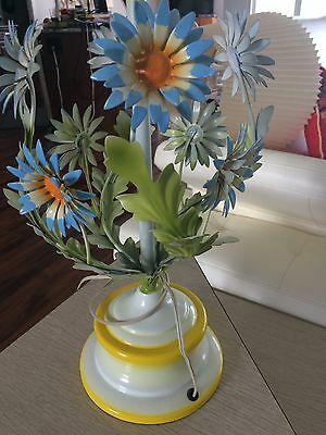 Vintage Painted Tole Lamp Metal Floral Flower Pot Lamp Large