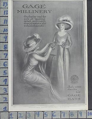 1909 Fashion Women Hats Gage Millinery Illus Kelly Edwardian Vintage Ad Di97