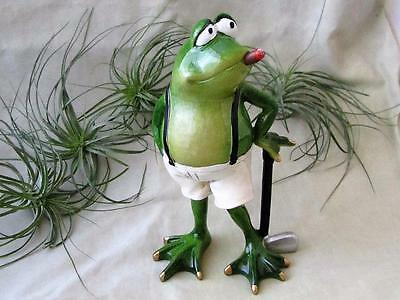 GREEN FROG GOLF CLUB CIGAR SUSPENDERSSHORTS RESIN Whimsical Sculpture FREE SHIP