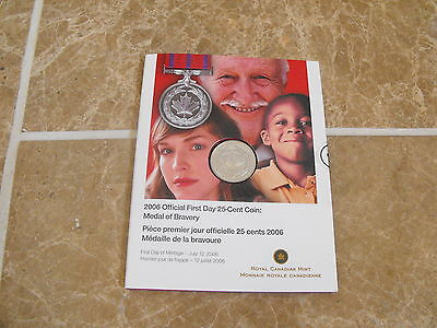 2006 Official First Day 25-Cents - Medal of Bravery - Royal Canadian Mint Issue
