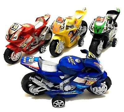 Pull Back Motorbike Toy Motorcycle Street Machine Friction Power - Great Gift 3+