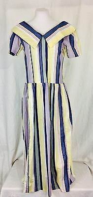 Vintage Early 1980's Laura Ashley Striped Tea Dress. UK 10 USA 6 Made In UK.