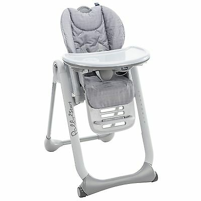 Chicco Baby / Child Polly 2 Start Com{act & Adjustable Highchair Happy Silver