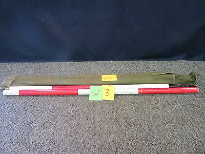 6.5' Bosch Military Surveying Rod Red White Steel Milp20192 Measuring Round Used