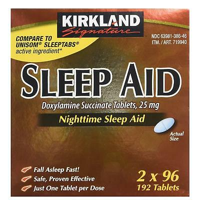 NEW Kirkland Nighttime Sleep Aid 192ct Doxylamine Succinate 25mg Tablets