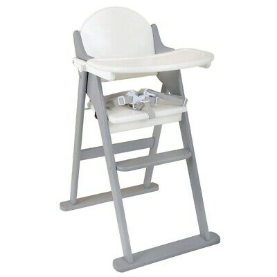 East Coast Nursery Child / Kids Folding Wooden Highchair - White/Grey