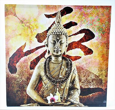 Sitting Buddha w/ Mala and Flower & Floral Background Canvas