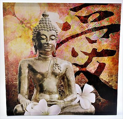 Sitting Buddha with Writing and Floral Background Canvas