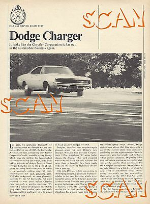 1968 Dodge Charger Car and Driver Road Test Magazine Article Ad 68 R/T Mopar