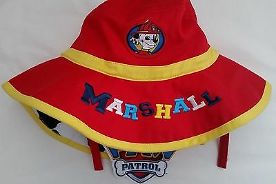 PAW PATROL MARSHALL Licensed Boy brim hat with chin strap NEW 1-3 , 3-5 years