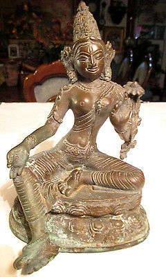 Antique Temple Chinese / Tibet Copper Buddha/kwan-Yin Statue With Stamp