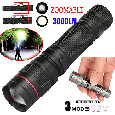 Super Bright CREE Q5 AA/14500 3 Modes 3000LM ZOOMABLE LED Flashlight Torch Lamp