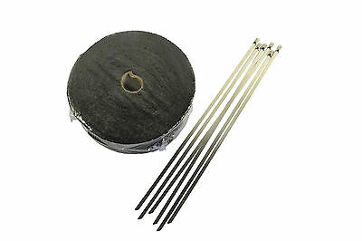 STEEL TIES 2000F BLACK EXHAUST HEAT WRAP 50MM X 15M + 6 STAINLESS AU Local
