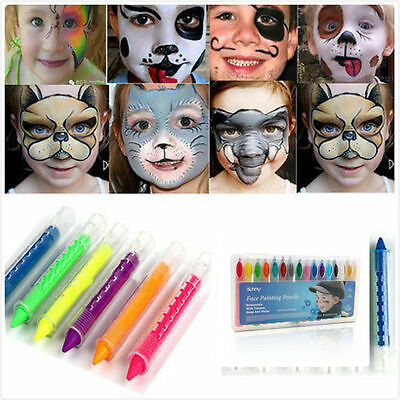 16 Color Face Painting Crayons Body Paint Pencils Sticks Non-Toxic Easy to Wash