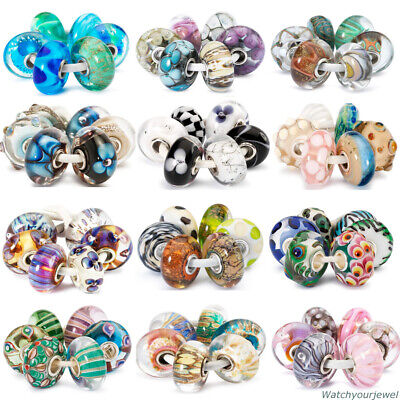 TROLLBEADS Set 6 Beads in Vetro Originali con Scatola Regalo TGLBE-000