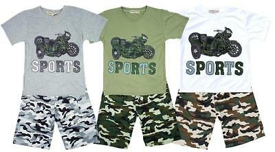 Boys T-Shirt Shorts Tee Army Sport Motorbike Outfit Camo Set Kids 4 to 12 Years