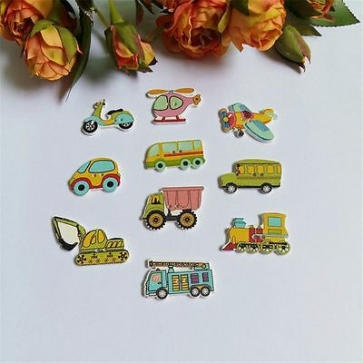 50pcs Sewing Children Buttons Cars Wood Air