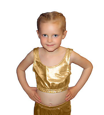 new girls shiny metallic crop top dance fancy dress school wetlook top age 5-11