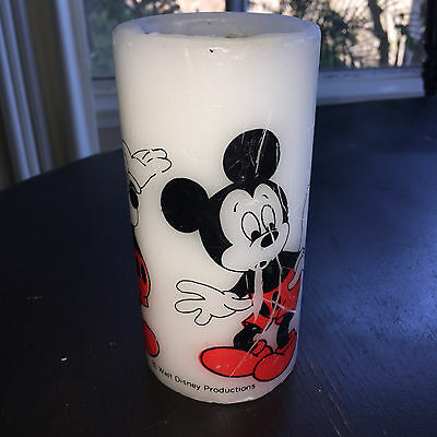 Walt Disney Productions Vintage Mickey Mouse Pillar Candle 1970s Light Wear