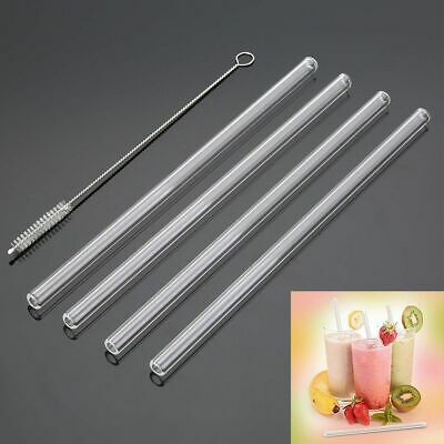 4Pcs Reusable Straight Glass Tube Drinking Straw Sucker With 1X Cleaning Brush