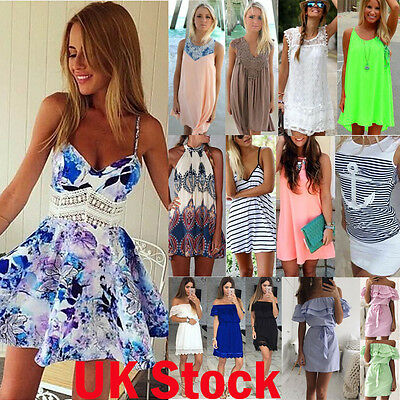 UK Women Holiday Sleeveless Sundress Ladies Summer Beach Short Mini Vest Dress