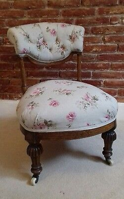 Victorian walnut vintage rose bedroom chair