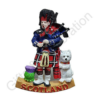Scotland Fridge Magnet - Highland Piper, Scottish Dog, Thistle  Souvenir Gift