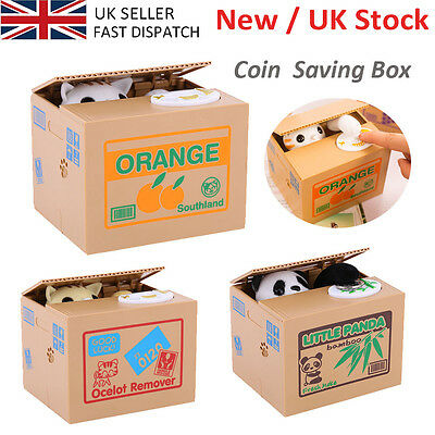 Creative Piggy Bank Panda Cat Steal Money Coin Cents Saving Box Kids UK SELLER