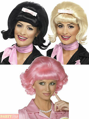 Ladies Frenchy Grease Wig Adults 1950s Beehive Bob Fancy Dress Diner Accessory