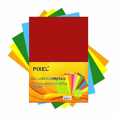 Pixel® A4 Card for Home, School, Office (Bright Colours - 160GSM - 50 Sheets)