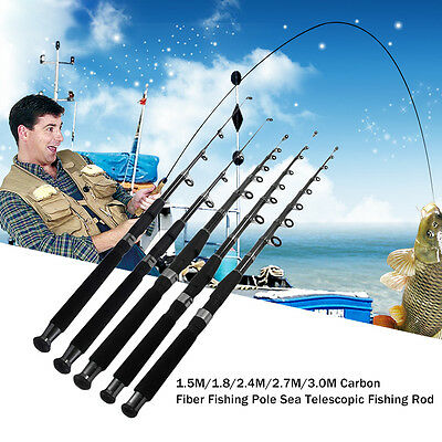 1.5M/1.8/2.4M/2.7M/3.0M Carbon Fiber Fishing Pole Sea Telescopic Fishing Rod GT