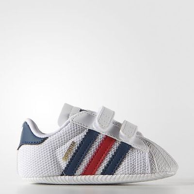 Baby Adidas Superstar 1st Crib CB White/Blue/Red/Gold S74770 Various Sizes