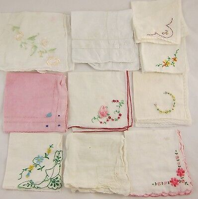 Vintage Handkerchief Lot of 10 with Embroidered Flowers
